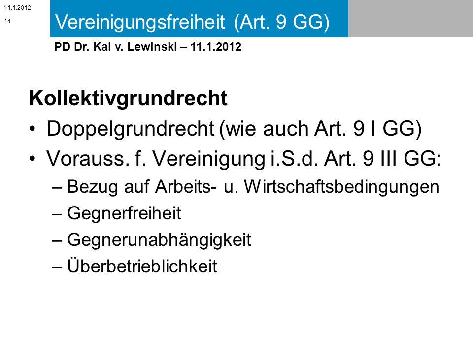 Vereinigungsfreiheit (Art. 9 GG) 11.1.2012 PD Dr. Kai v. Lewinski – 11.1.2012 Kollektivgrundrecht Doppelgrundrecht (wie auch Art. 9 I GG) Vorauss. f.