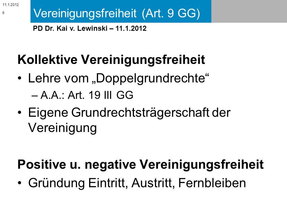 Vereinigungsfreiheit (Art. 9 GG) 11.1.2012 PD Dr. Kai v. Lewinski – 11.1.2012 Kollektive Vereinigungsfreiheit Lehre vom Doppelgrundrechte –A.A.: Art.