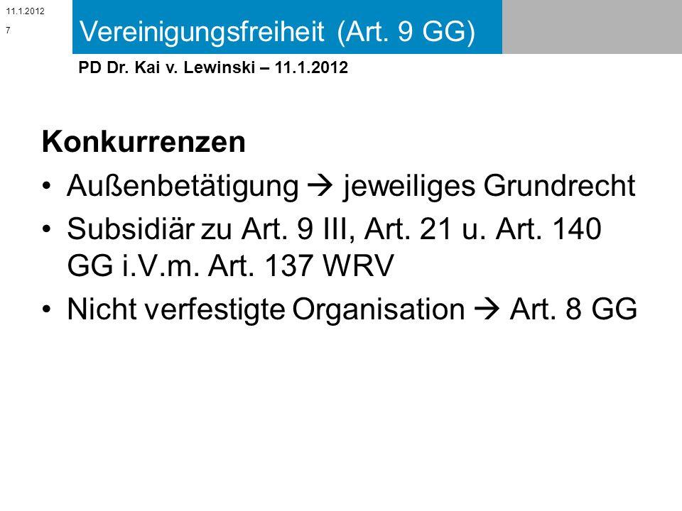 Vereinigungsfreiheit (Art. 9 GG) 11.1.2012 PD Dr. Kai v. Lewinski – 11.1.2012 Konkurrenzen Außenbetätigung jeweiliges Grundrecht Subsidiär zu Art. 9 I