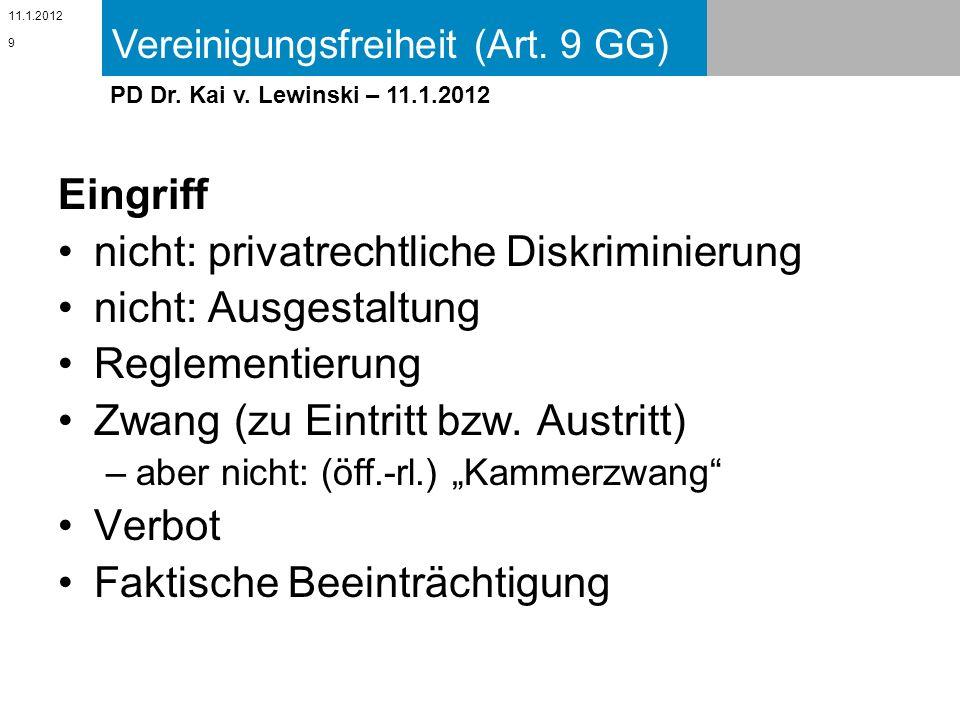 Vereinigungsfreiheit (Art. 9 GG) 11.1.2012 PD Dr. Kai v. Lewinski – 11.1.2012 Eingriff nicht: privatrechtliche Diskriminierung nicht: Ausgestaltung Re