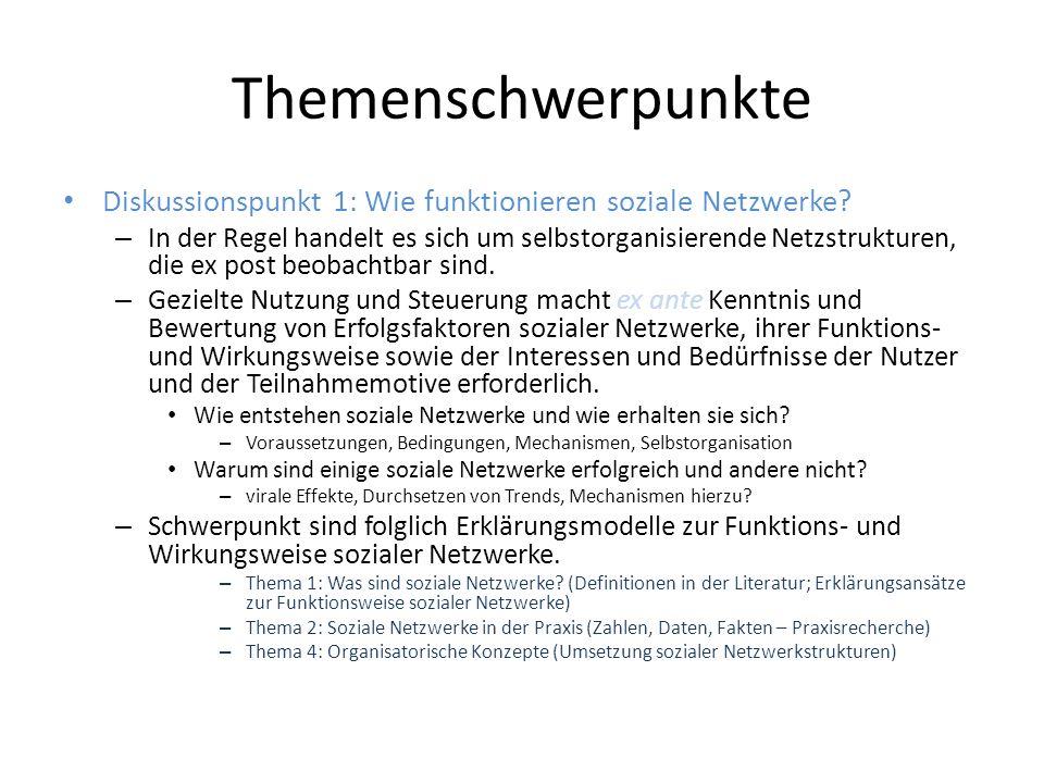 Themenschwerpunkte Diskussionspunkt 1: Wie funktionieren soziale Netzwerke.