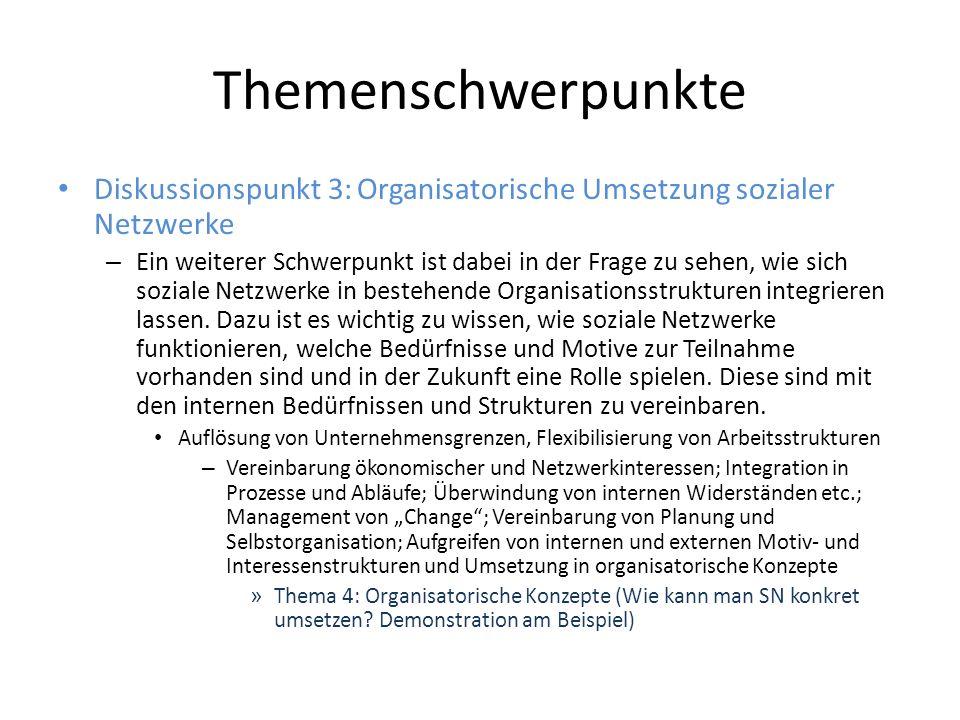 Themenschwerpunkte Diskussionspunkt 3: Organisatorische Umsetzung sozialer Netzwerke – Ein weiterer Schwerpunkt ist dabei in der Frage zu sehen, wie sich soziale Netzwerke in bestehende Organisationsstrukturen integrieren lassen.