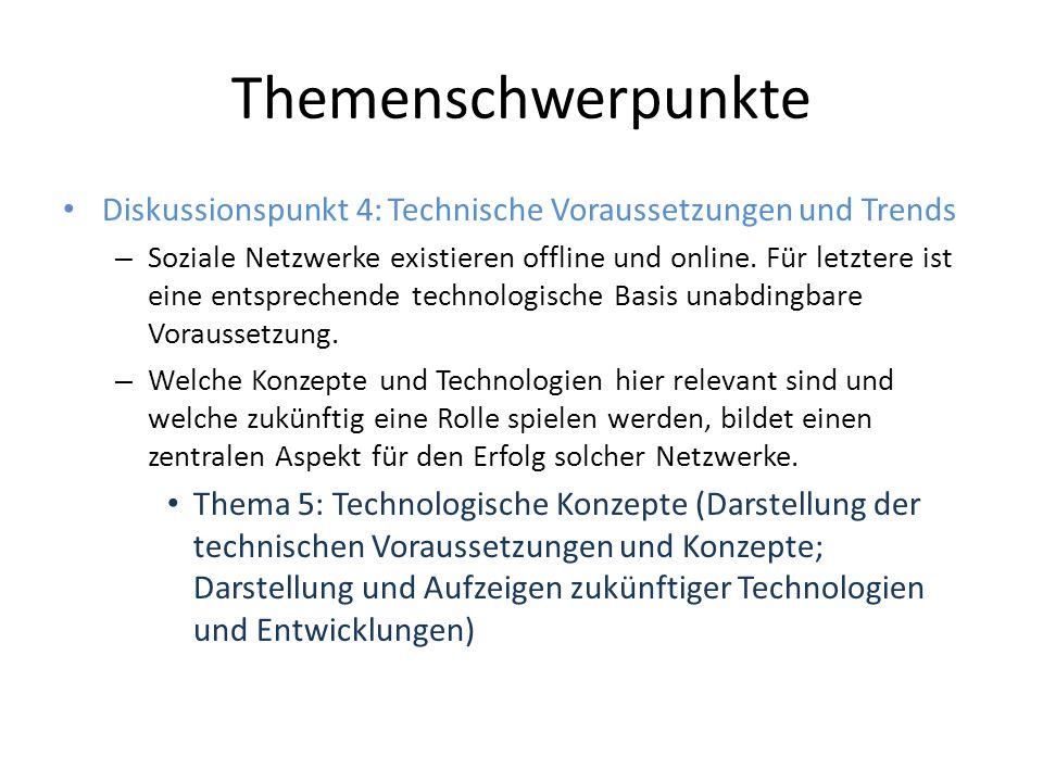 Themenschwerpunkte Diskussionspunkt 4: Technische Voraussetzungen und Trends – Soziale Netzwerke existieren offline und online.