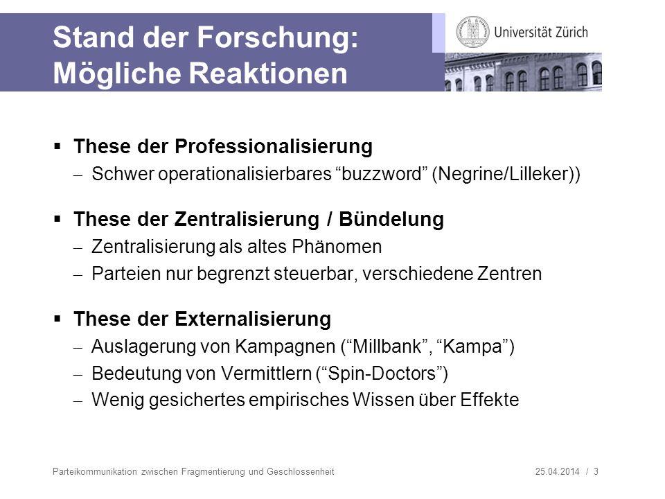 25.04.2014 / 3 Stand der Forschung: Mögliche Reaktionen These der Professionalisierung Schwer operationalisierbares buzzword (Negrine/Lilleker)) These