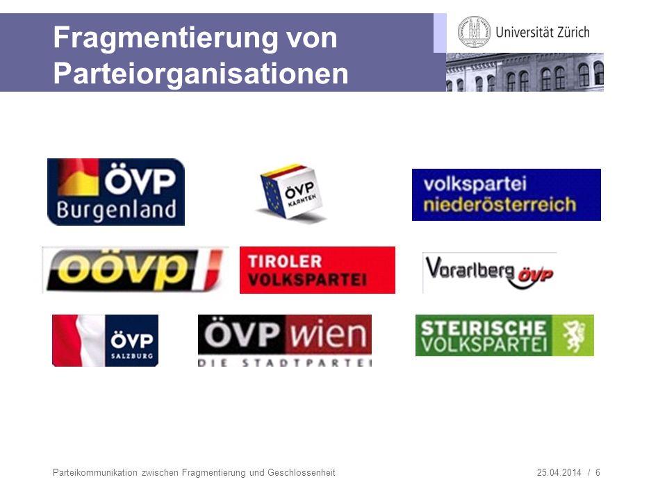 25.04.2014 / 7 Fragmentierung von Parteiorganisationen Parteikommunikation zwischen Fragmentierung und Geschlossenheit