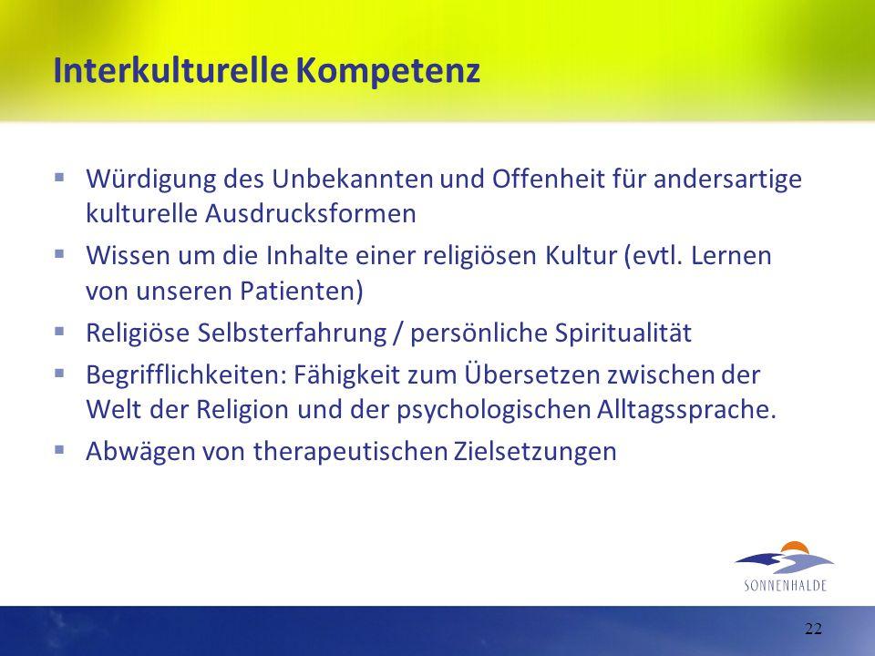 Interkulturelle Kompetenz Würdigung des Unbekannten und Offenheit für andersartige kulturelle Ausdrucksformen Wissen um die Inhalte einer religiösen K