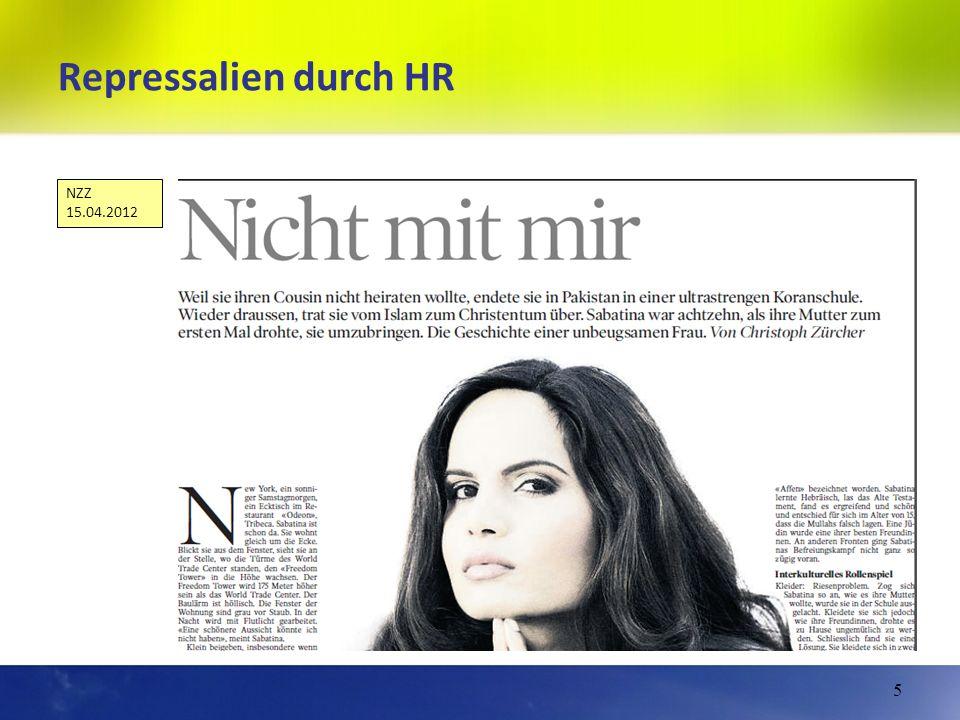 Repressalien durch HR 5 NZZ 15.04.2012