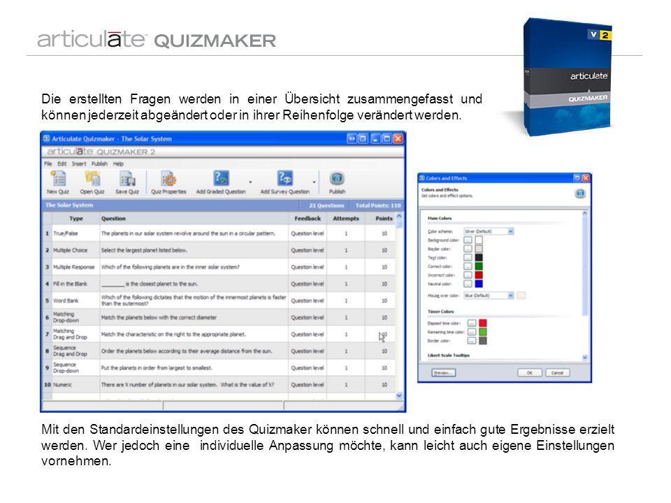 Mit den Standardeinstellungen des Quizmaker können schnell und einfach gute Ergebnisse erzielt werden. Wer jedoch eine individuelle Anpassung möchte,
