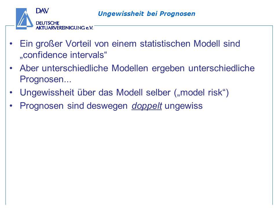 Ungewissheit bei Prognosen Ein großer Vorteil von einem statistischen Modell sind confidence intervals Aber unterschiedliche Modellen ergeben unterschiedliche Prognosen...