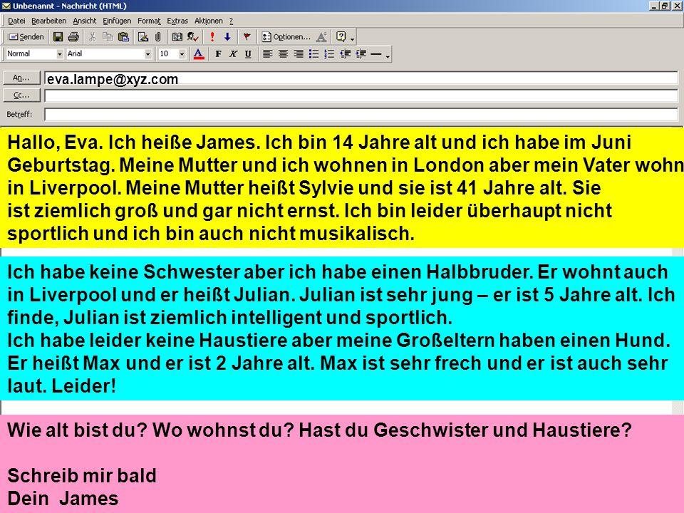 James hat eine Emailpartnerin (Eva Lampe) in Deutschland aber James kann nicht Deutsch sprechen.