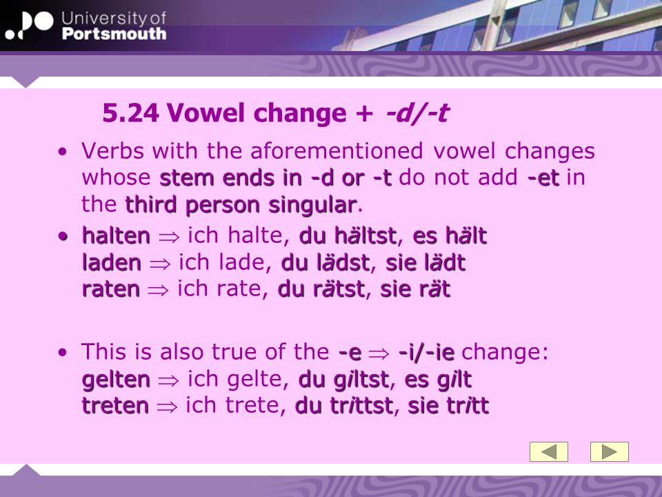 5.24 Vowel change + -d/-t stem ends in -d or -t-et third person singularVerbs with the aforementioned vowel changes whose stem ends in -d or -t do not add -et in the third person singular.