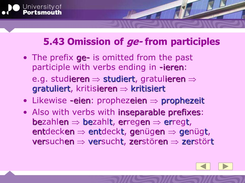 5.43 Omission of ge- from participles ge- -ierenThe prefix ge- is omitted from the past participle with verbs ending in -ieren: ieren studiert ieren g