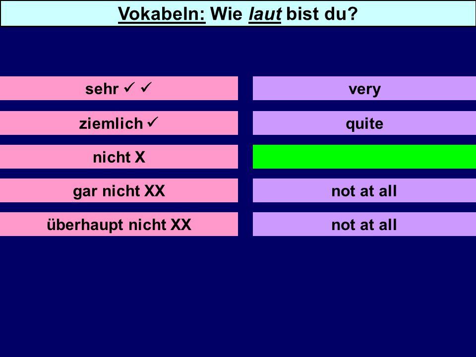 ziemlich nicht X gar nicht XX überhaupt nicht XX quite not not at all sehr very Vokabeln: Wie laut bist du.