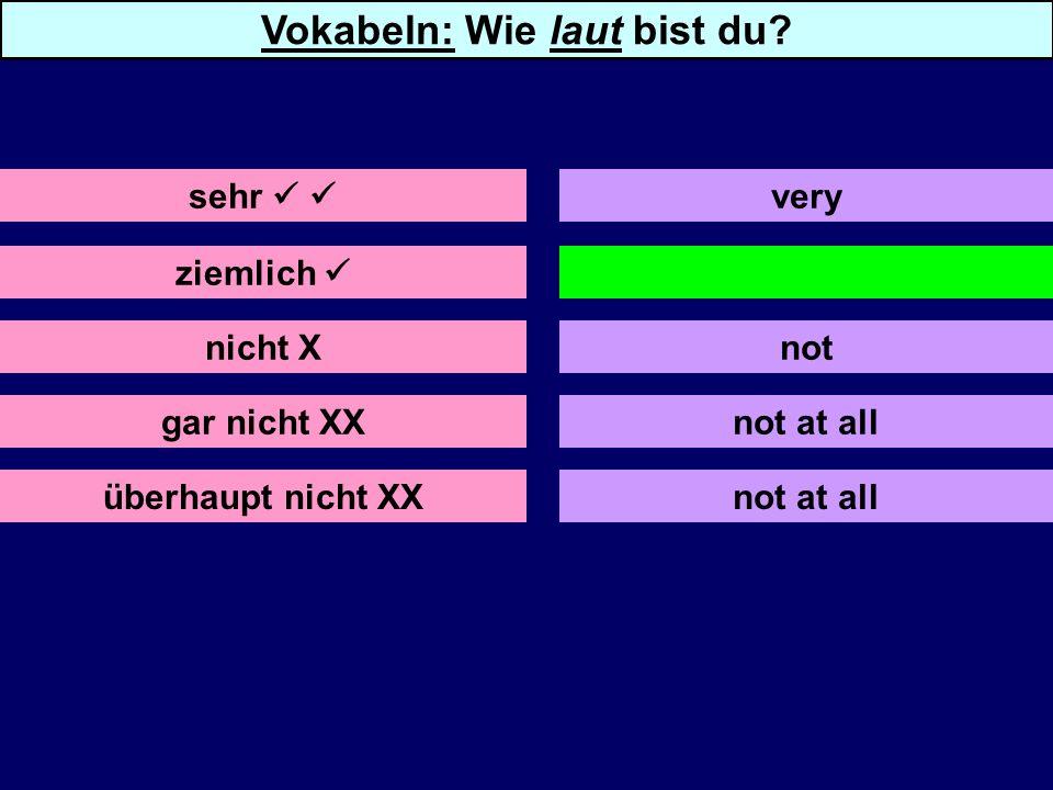 ziemlich nicht X gar nicht XX überhaupt nicht XX quite not at all sehr very Vokabeln: Wie laut bist du