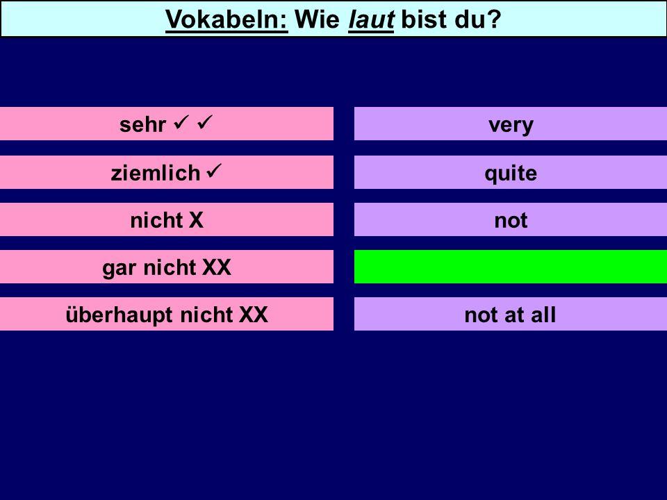 ziemlich nicht X gar nicht XX überhaupt nicht XX quite not not at all sehr Vokabeln: Wie laut bist du