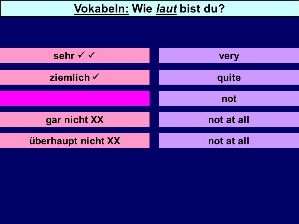ziemlich nicht X gar nicht XX überhaupt nicht XX quite not not at all very Vokabeln: Wie laut bist du