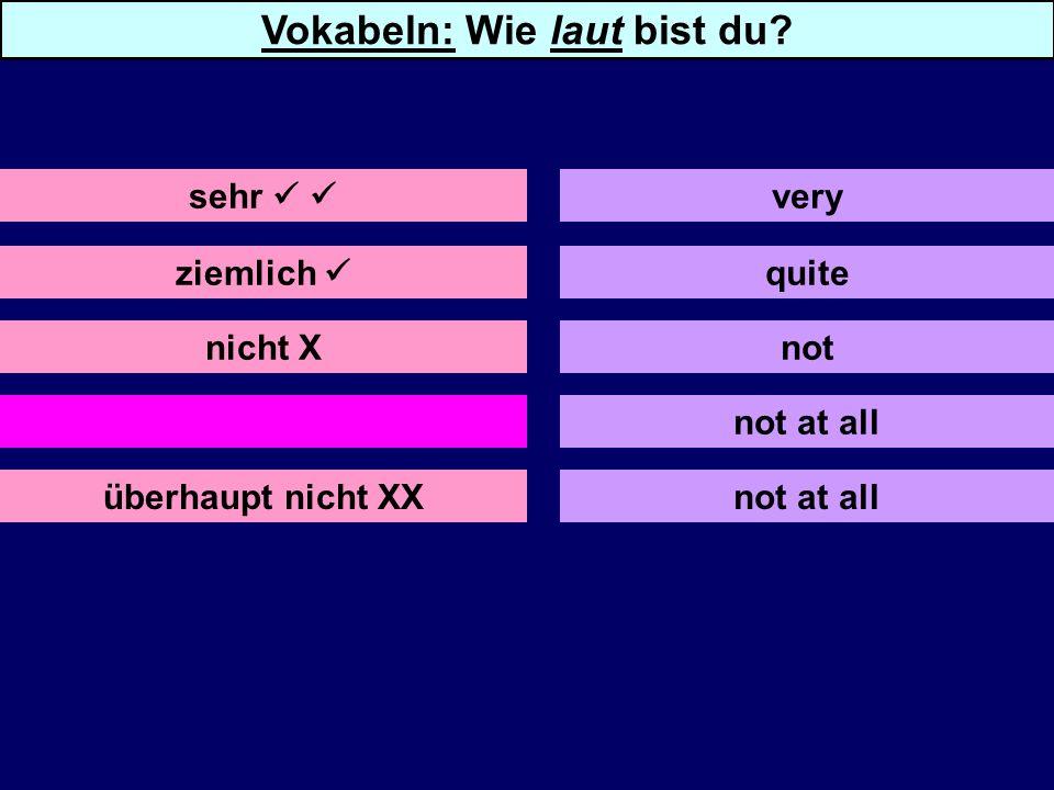 nicht X gar nicht XX überhaupt nicht XX quite not not at all sehr very Vokabeln: Wie laut bist du