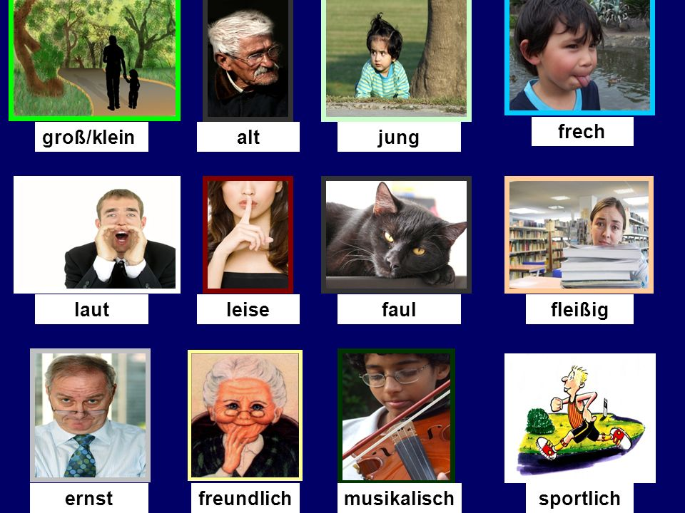 Was fehlt. (What is missing ) You will see 13 adjectives on the next slide.