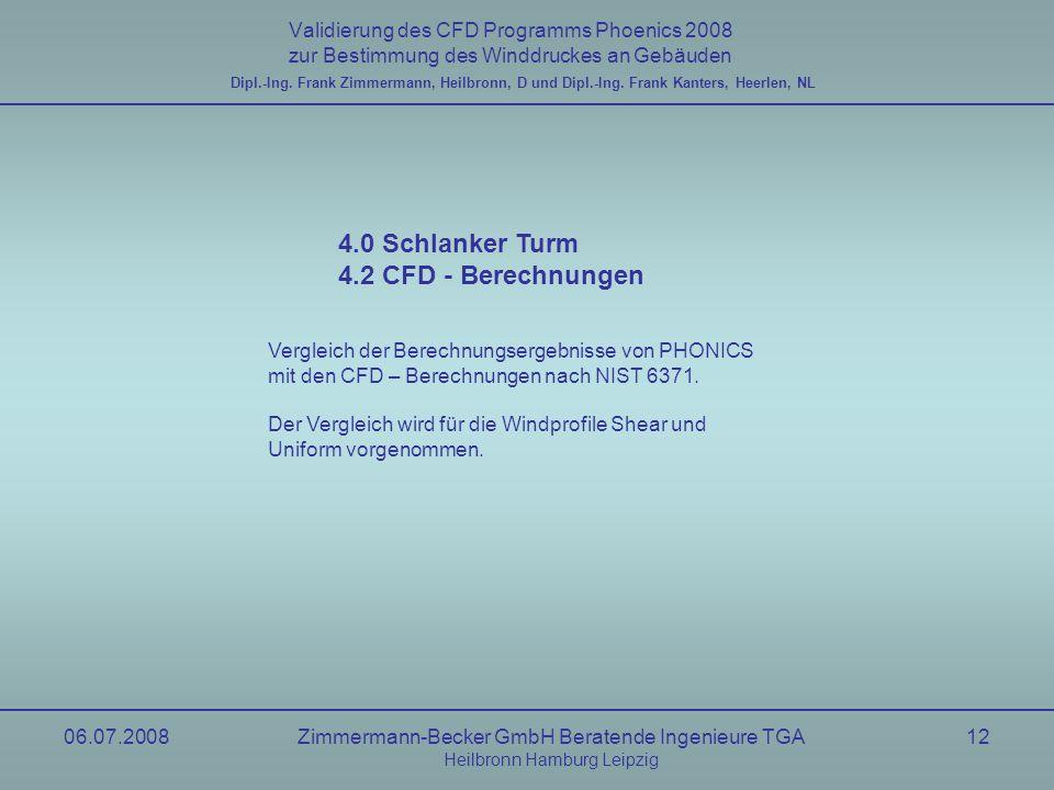 06.07.2008Zimmermann-Becker GmbH Beratende Ingenieure TGA Heilbronn Hamburg Leipzig 12 Validierung des CFD Programms Phoenics 2008 zur Bestimmung des