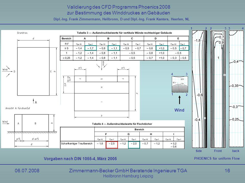 06.07.2008Zimmermann-Becker GmbH Beratende Ingenieure TGA Heilbronn Hamburg Leipzig 16 Validierung des CFD Programms Phoenics 2008 zur Bestimmung des
