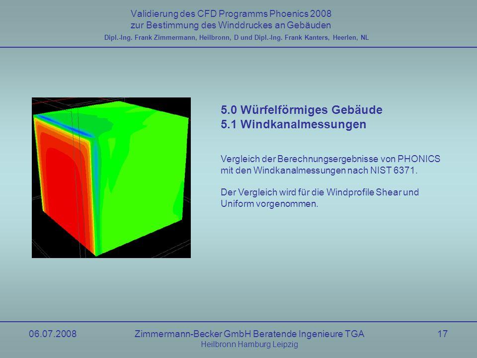 06.07.2008Zimmermann-Becker GmbH Beratende Ingenieure TGA Heilbronn Hamburg Leipzig 17 Validierung des CFD Programms Phoenics 2008 zur Bestimmung des