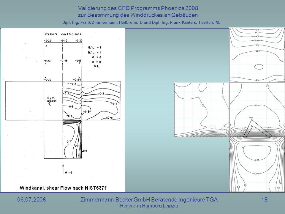 06.07.2008Zimmermann-Becker GmbH Beratende Ingenieure TGA Heilbronn Hamburg Leipzig 19 Validierung des CFD Programms Phoenics 2008 zur Bestimmung des