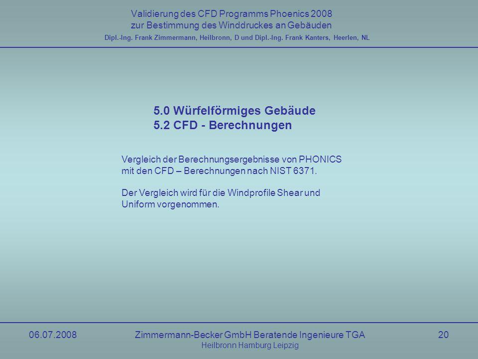 06.07.2008Zimmermann-Becker GmbH Beratende Ingenieure TGA Heilbronn Hamburg Leipzig 20 Validierung des CFD Programms Phoenics 2008 zur Bestimmung des