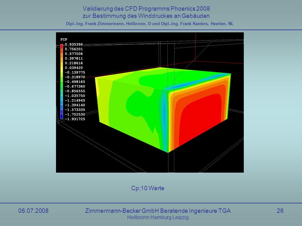 06.07.2008Zimmermann-Becker GmbH Beratende Ingenieure TGA Heilbronn Hamburg Leipzig 26 Validierung des CFD Programms Phoenics 2008 zur Bestimmung des