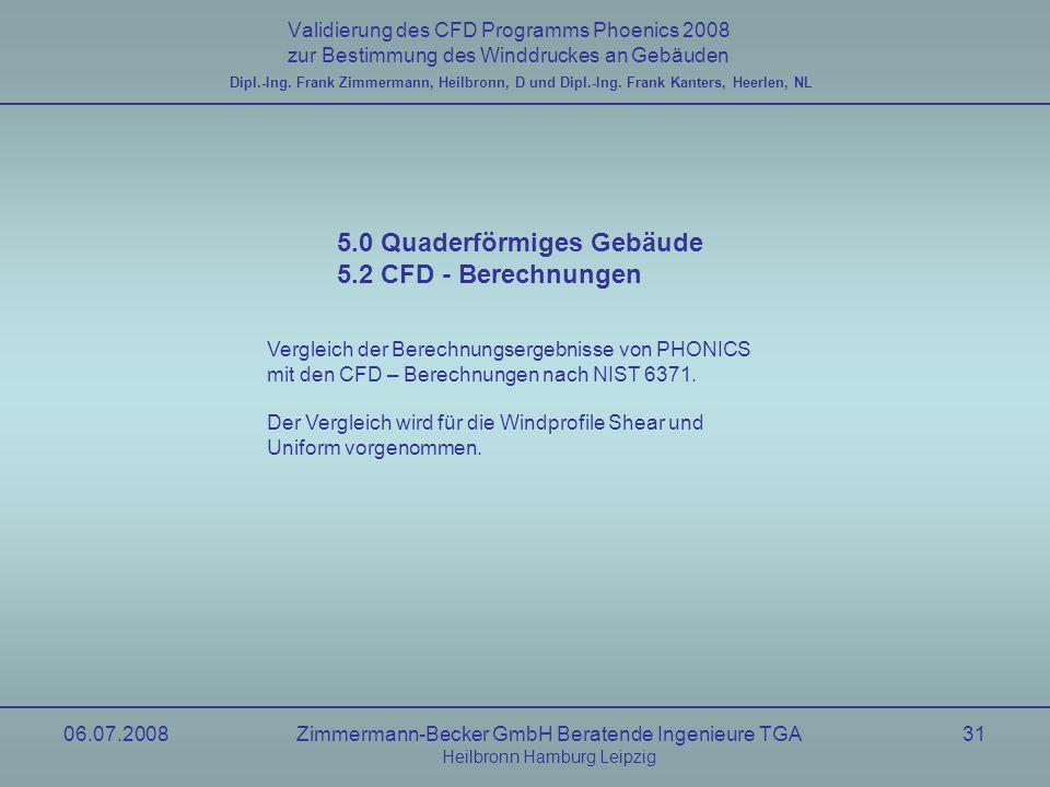 06.07.2008Zimmermann-Becker GmbH Beratende Ingenieure TGA Heilbronn Hamburg Leipzig 31 Validierung des CFD Programms Phoenics 2008 zur Bestimmung des