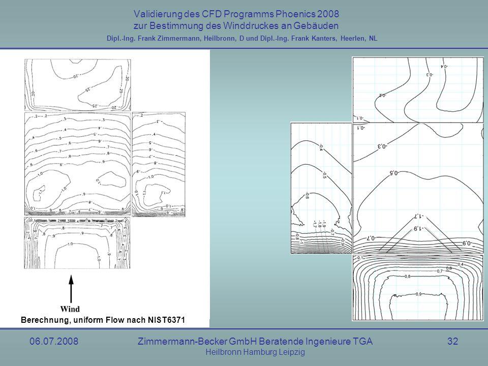 06.07.2008Zimmermann-Becker GmbH Beratende Ingenieure TGA Heilbronn Hamburg Leipzig 32 Validierung des CFD Programms Phoenics 2008 zur Bestimmung des