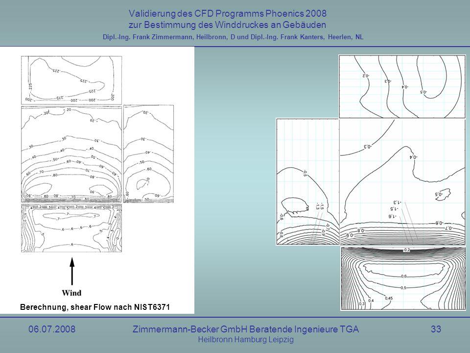 06.07.2008Zimmermann-Becker GmbH Beratende Ingenieure TGA Heilbronn Hamburg Leipzig 33 Validierung des CFD Programms Phoenics 2008 zur Bestimmung des