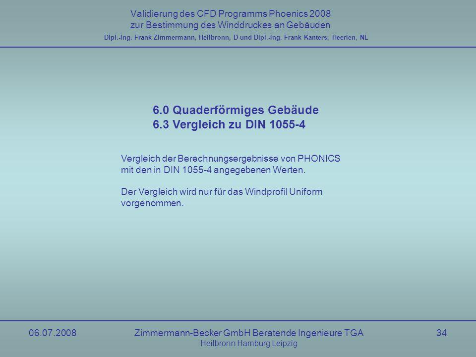 06.07.2008Zimmermann-Becker GmbH Beratende Ingenieure TGA Heilbronn Hamburg Leipzig 34 Validierung des CFD Programms Phoenics 2008 zur Bestimmung des