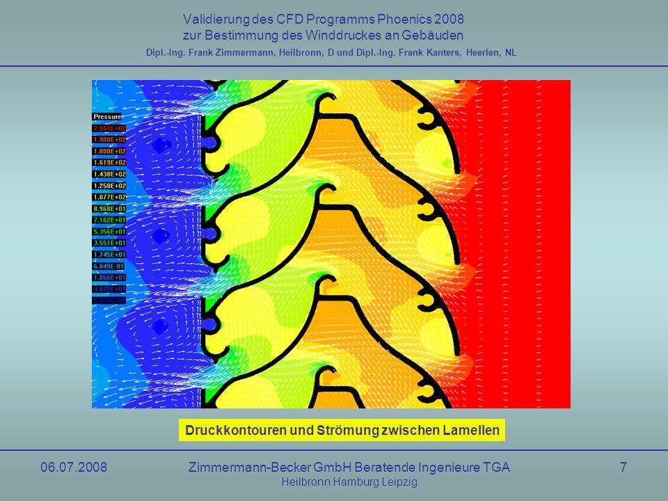 06.07.2008Zimmermann-Becker GmbH Beratende Ingenieure TGA Heilbronn Hamburg Leipzig 18 Validierung des CFD Programms Phoenics 2008 zur Bestimmung des Winddruckes an Gebäuden Windkanal, uniform Flow nach NIST6371 Dipl.-Ing.