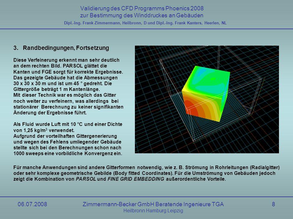 06.07.2008Zimmermann-Becker GmbH Beratende Ingenieure TGA Heilbronn Hamburg Leipzig 29 Validierung des CFD Programms Phoenics 2008 zur Bestimmung des Winddruckes an Gebäuden Windkanal, uniform Flow nach AIJ Dipl.-Ing.