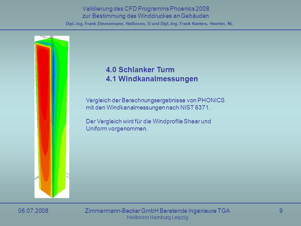 06.07.2008Zimmermann-Becker GmbH Beratende Ingenieure TGA Heilbronn Hamburg Leipzig 10 Validierung des CFD Programms Phoenics 2008 zur Bestimmung des Winddruckes an Gebäuden Windkanal, uniform Flow nach NIST6371 Dipl.-Ing.