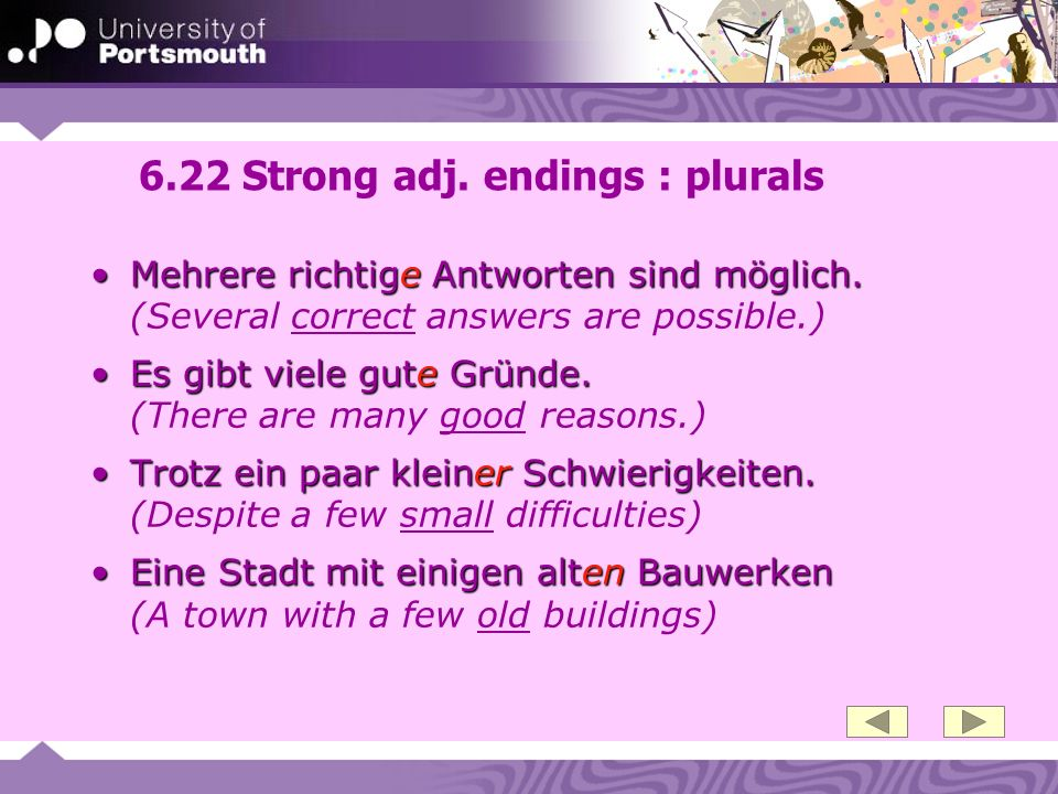 6.22 Strong adj. endings : plurals Mehrere richtige Antworten sind möglich.Mehrere richtige Antworten sind möglich. (Several correct answers are possi