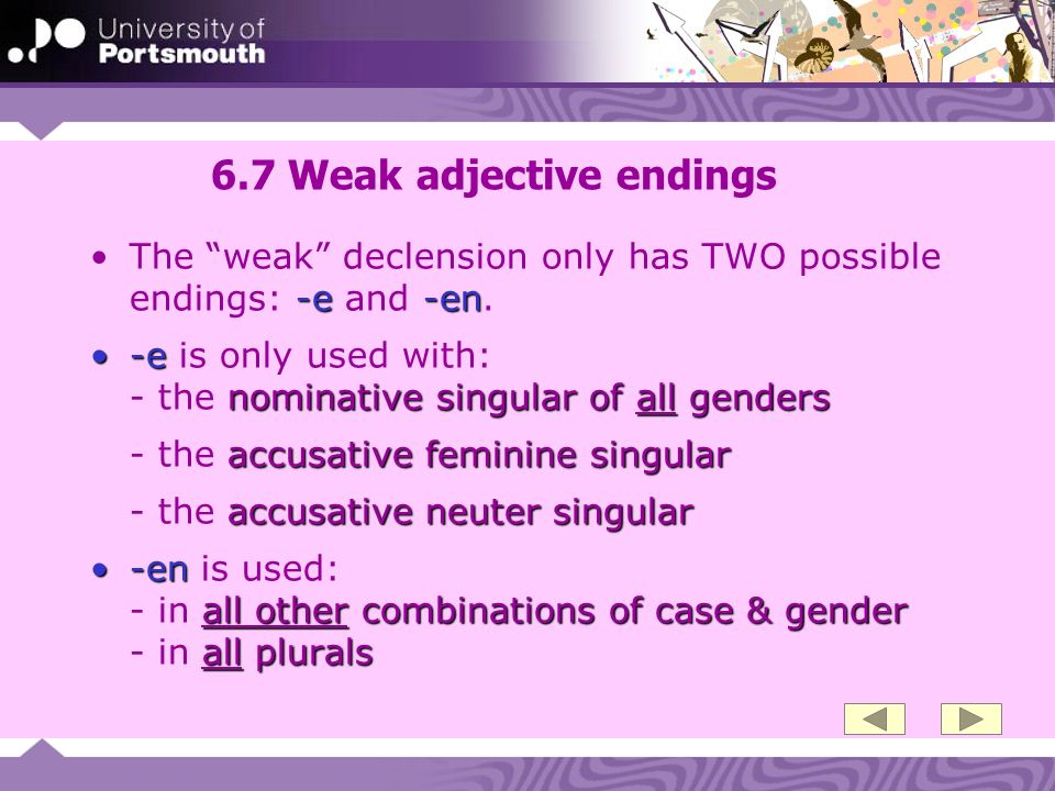 6.28 Mixed adjective endings Mixed adjective endingsMixed adjective endings are so called because they mix weak and strong adjective endings Strong adjective endings nominative singular of all genders accusative feminine singular accusative neuter singularStrong adjective endings are used with: - the nominative singular of all genders - the accusative feminine singular - the accusative neuter singular weak adjective ending all other combinations of case & gender all pluralsThe weak adjective ending -en is used: - in all other combinations of case & gender - in all plurals
