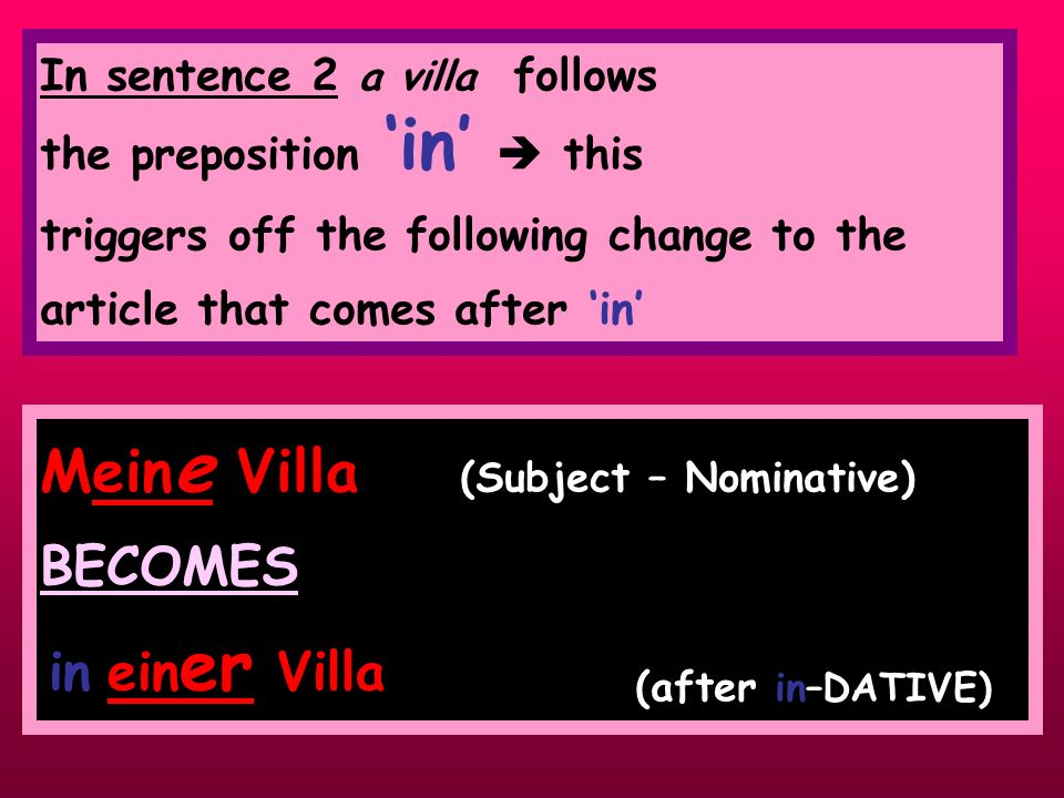 Mein e Villa (Subject – Nominative) BECOMES (after in–DATIVE) In sentence 2 a villa follows the preposition in this triggers off the following change to the article that comes after in in ein er Villa