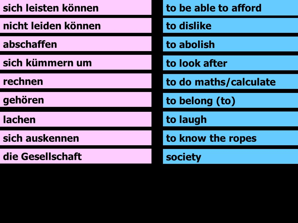 sich leisten können nicht leiden können abschaffen sich kümmern um rechnen gehören lachen sich auskennen to be able to afford to dislike to abolish to look after to do maths/calculate to belong (to) to laugh to know the ropes die Gesellschaft society