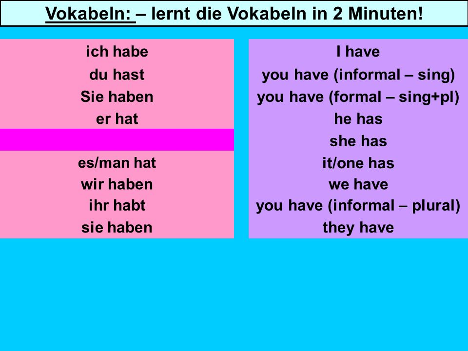 Sie haben er hat sie hat es/man hat wir haben you have (informal – sing) you have (formal – sing+pl) he has she has it/one has we have ich habeI have Vokabeln: – lernt die Vokabeln in 2 Minuten.