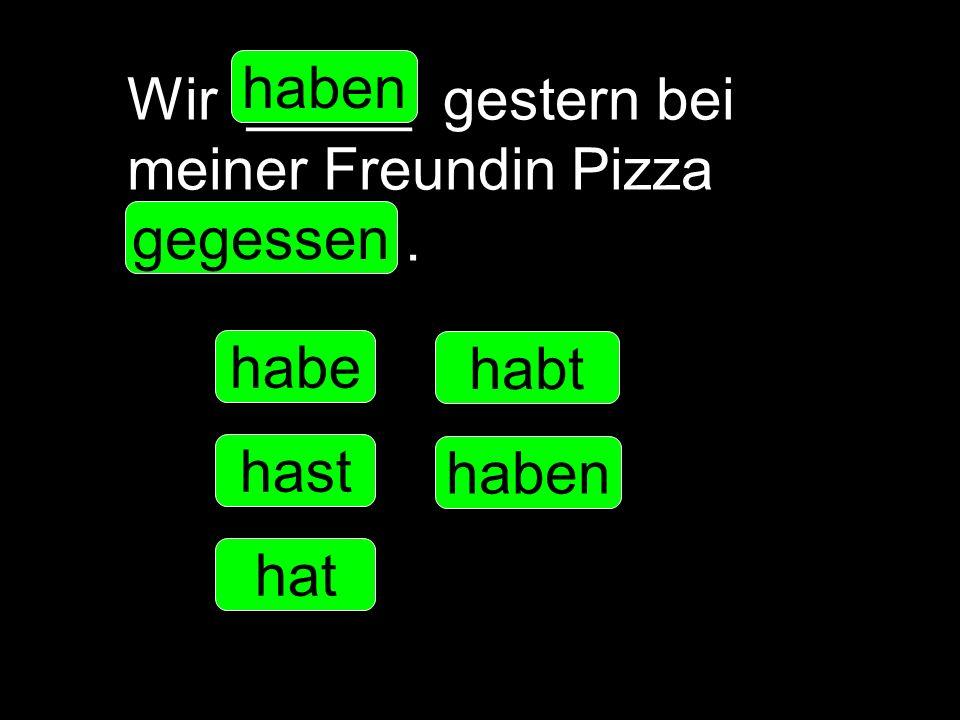 Wir _____ gestern bei meiner Freundin Pizza __________. habe hast hat haben habt