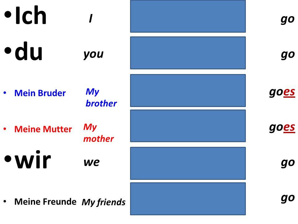 Ich spiele du spielst Mein Bruder spielt Meine Mutter spielt wir spielen Meine Freunde spielen I you My brother My mother we My friends play plays pla