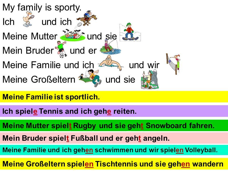 Ich bin sehr sportlich. 1.Ich und ich 2.Ich und ich 3.Ich aber ich 4.Ich und ich X