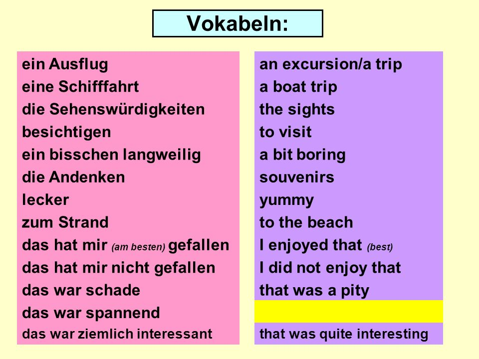 Vokabeln: ein Ausflug eine Schifffahrt die Sehenswürdigkeiten besichtigen ein bisschen langweilig die Andenken lecker zum Strand das hat mir (am besten) gefallen das hat mir nicht gefallen das war schade an excursion/a trip a boat trip the sights to visit souvenirs yummy to the beach I enjoyed that (best) I did not enjoy that that was a pity das war spannendthat was exciting das war ziemlich interessantthat was quite interesting