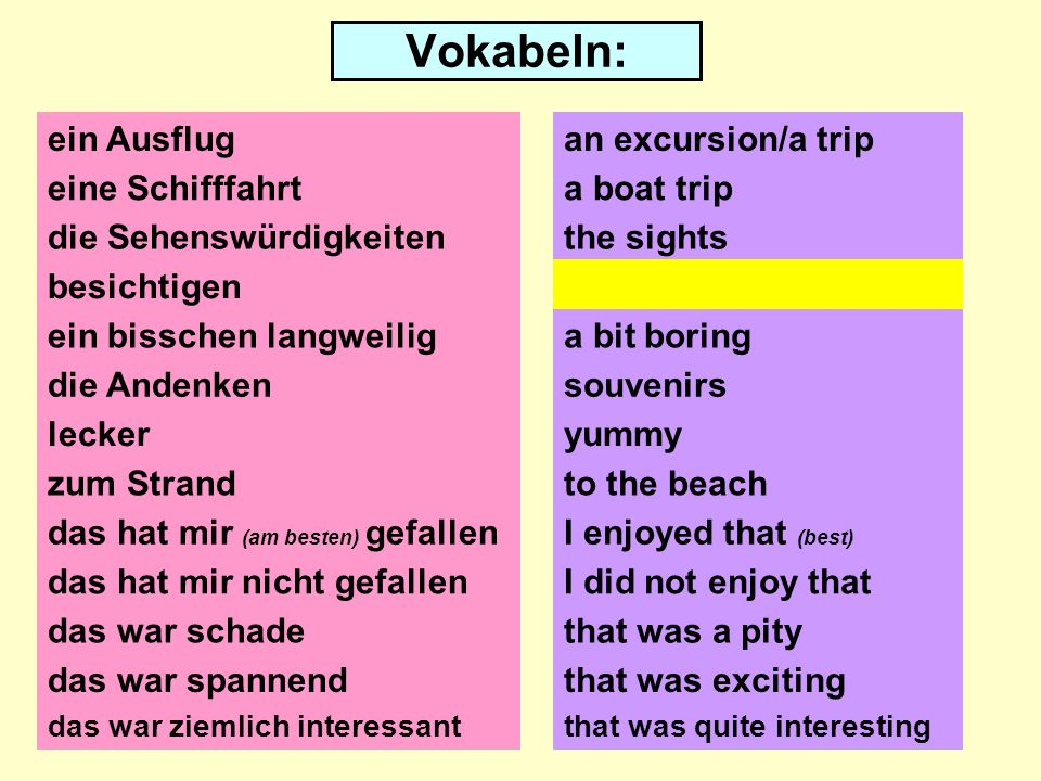 Vokabeln: ein Ausflug eine Schifffahrt die Sehenswürdigkeiten besichtigen ein bisschen langweilig die Andenken lecker zum Strand das hat mir (am besten) gefallen das hat mir nicht gefallen das war schade an excursion/a trip a boat trip the sights to visit a bit boring souvenirs yummy to the beach I enjoyed that (best) I did not enjoy that that was a pity das war spannend das war ziemlich interessantthat was quite interesting