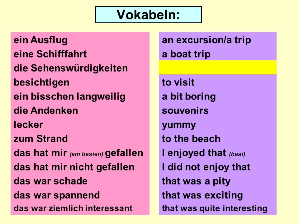 Vokabeln: ein Ausflug eine Schifffahrt die Sehenswürdigkeiten besichtigen ein bisschen langweilig die Andenken lecker zum Strand das hat mir (am besten) gefallen das hat mir nicht gefallen das war schade an excursion/a trip a boat trip the sights to visit a bit boring souvenirs yummy to the beach I enjoyed that (best) I did not enjoy that das war spannendthat was exciting das war ziemlich interessantthat was quite interesting