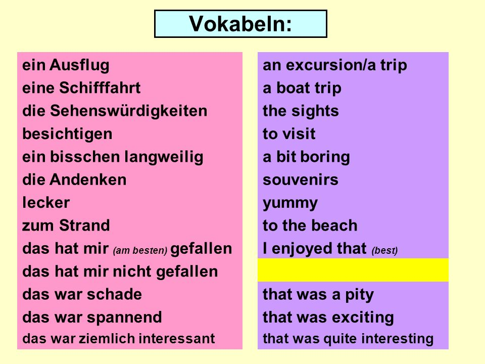 Vokabeln: ein Ausflug eine Schifffahrt die Sehenswürdigkeiten besichtigen ein bisschen langweilig die Andenken lecker zum Strand das hat mir (am besten) gefallen das hat mir nicht gefallen das war schade an excursion/a trip a boat trip the sights to visit a bit boring souvenirs yummy I enjoyed that (best) I did not enjoy that that was a pity das war spannendthat was exciting das war ziemlich interessantthat was quite interesting