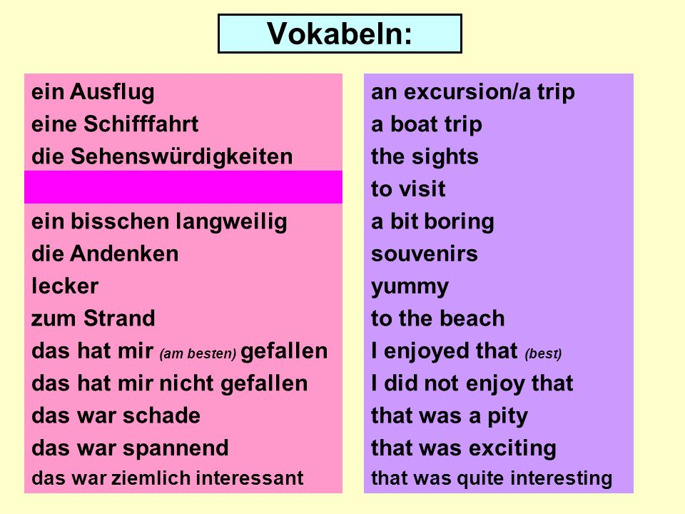 Vokabeln: ein Ausflug eine Schifffahrt die Sehenswürdigkeiten besichtigen ein bisschen langweilig die Andenken lecker zum Strand das hat mir (am besten) gefallen das hat mir nicht gefallen das war schade an excursion/a trip a boat trip the sights to visit a bit boring souvenirs yummy to the beach I enjoyed that (best) I did not enjoy that that was a pity that was exciting das war ziemlich interessantthat was quite interesting