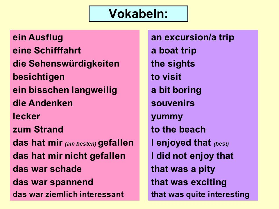 Vokabeln You have 2 minutes to learn the German and English vocabulary.