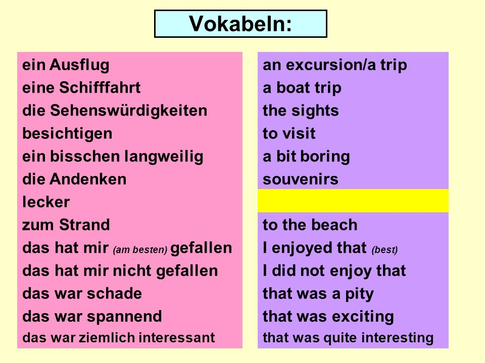 Vokabeln: ein Ausflug eine Schifffahrt die Sehenswürdigkeiten besichtigen ein bisschen langweilig die Andenken lecker zum Strand das hat mir (am besten) gefallen das hat mir nicht gefallen das war schade an excursion/a trip a boat trip the sights to visit a bit boring souvenirs yummy to the beach I enjoyed that (best) I did not enjoy that that was a pity das war spannendthat was exciting das war ziemlich interessantthat was quite interesting